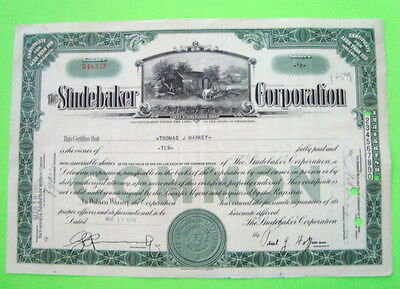 scarce 1930's STUDEBAKER STOCK CERTIFICATE Green <100 Shares ORIGINAL Cancelled