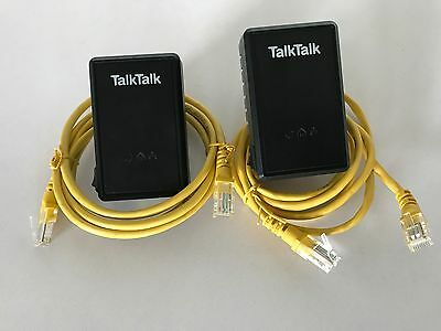2x TalkTalk D-Link DHP-300AV Powerline Adapters with 2x Ethernet Cables
