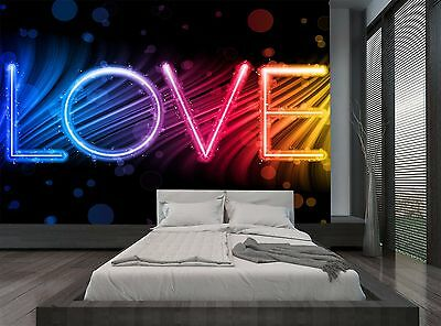 Love World Colorful Waves Love Wall Mural Photo Wallpaper GIANT WALL DECOR