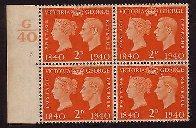 G.B.1940 Centenary of the Adhesive stamp. 2d Control Block of 6, Superb MNH.