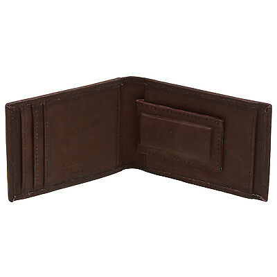 Paul&Taylor Men's Bifold Leather Wallet Interior Magnetic Money Clip