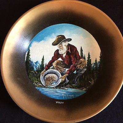 Yukon GOLD PAN Painting signed by MacKinnon of a Wild West Scene of Panning