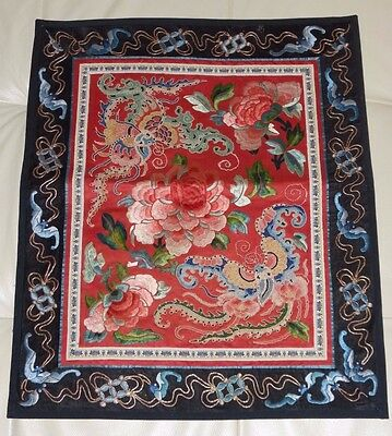 Antique Chinese Rectangular Embroidered Decorative Textile Panel
