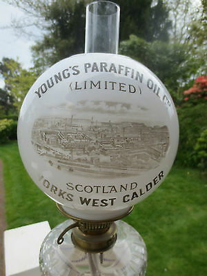 Superb Victorian  Youngs Paraffin Oil  Advertising Glass  Duplex Oil Lamp Shade