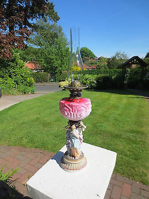 Old Victorian Cranberry Oil Lamp Complete With Chimney