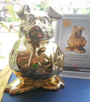 GOLD Wade NatWest Pig MAXWELL Nat West Piggybank Moneybox 2008 Limited Edition