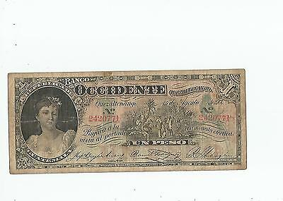 Guatemala  Un  Peso  1900  Banco  Occidentale
