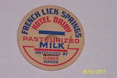 Extremely Rare French Lick Springs Hotel Dairy Milk Bottle Cap French Lick In.
