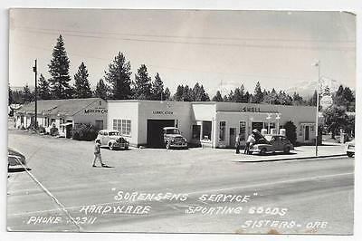 Photo Corner Shell Gas Station At Sisters Oregon 1940s PC