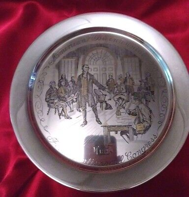Sterling Silver First Continental Congress 1774 Plate Danbury Mint