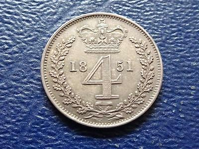 Queen Victoria Silver Maundy Fourpence 1851 4D Groat Great Britain Uk