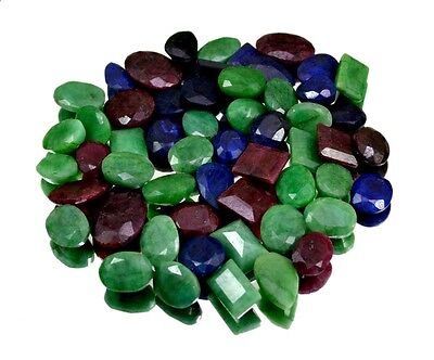485ct / 56pcs Natural Emerald Sapphire Ruby Ring Size Gemstone Wholesale Lot