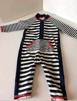 VGC Navy & White Nautical Stripe M&S Baby Swimsuit, 3-6mnth