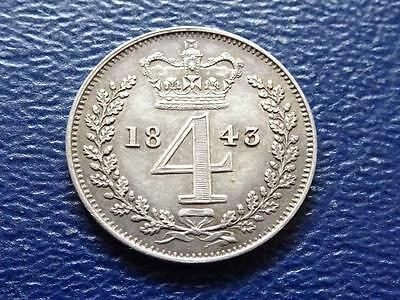 Queen Victoria Silver Maundy Fourpence 1843 4D Groat Great Britain Uk