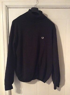 mens fred perry black cotton polo neck jumper vg condition