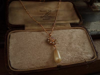 Vintage Seed Pearl Fire Opal and Pearl Drop Necklace Pendant Gold Plated