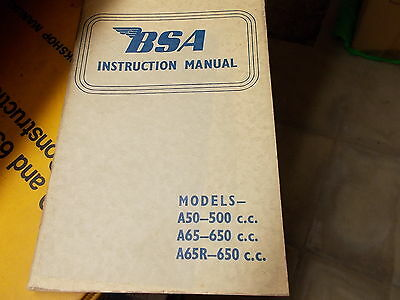 bsa original 1966 a65 a50 owners handbook