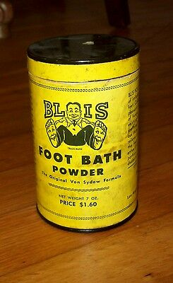 Very Rare!!  Happy Feet :)  Blis Foot Bath Powder Vintage Tin Can, Antique  Wow!