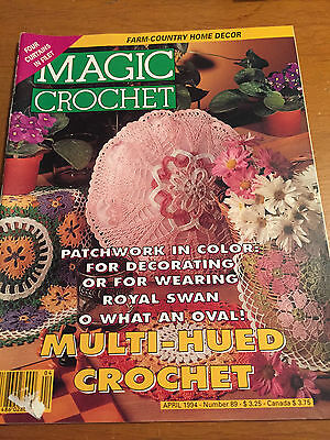 MAGIC CROCHET #89 PATTERN MAGAZINE  1994 Doilies Filet Swan