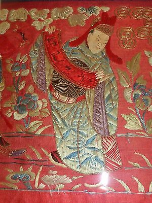 Magnificent Antique Chinese Red Silk Embroidered Play Scene Framed Wall Hanging