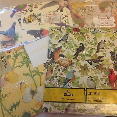 Vintage Birds and Butterflies Wrapping Paper Lot Current American Greetings