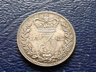 Queen Victoria Silver Maundy Threepence 1862 3D Great Britain Uk