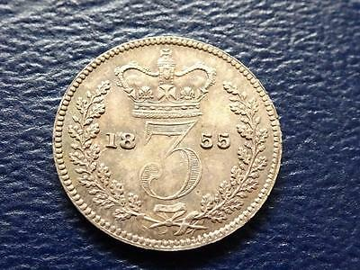 Queen Victoria Silver Maundy Threepence 1855 3D Great Britain Uk