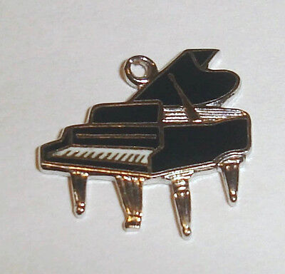Sterling Silver Grand Piano Charm with Black Enamel Vintage