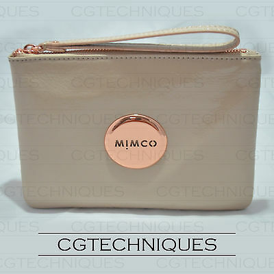 Mimco Pancake Rose Gold Medium Pouch Wallet Patent Leather Rrp $99.95