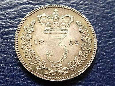 Queen Victoria Silver Maundy Threepence 1852 3D Great Britain Uk