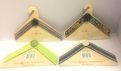 LOT OF 4 NEW Lindsay Phillips Switch Flops Tops Straps 3 Medium 1 Large