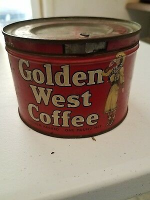 1940s Antique Golden West Coffee Tin Western Advertising Cowgirl General Store