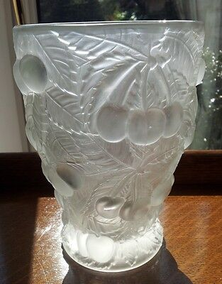 1930s BAROLAC JOSEPH INWALD FROSTED GLASS CHERRIES VASE