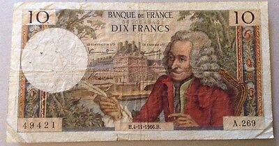 France Banknote. 10 Francs. Dated 1966.