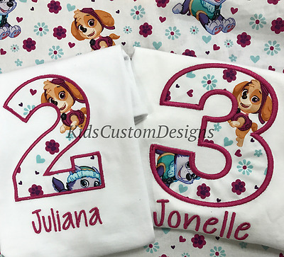 Girls Paw Patrol Birthday Shirt Skye Everest Embroidered Any Age Personalized