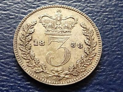 Queen Victoria Silver Threepence 1838 3D Great Britain Uk