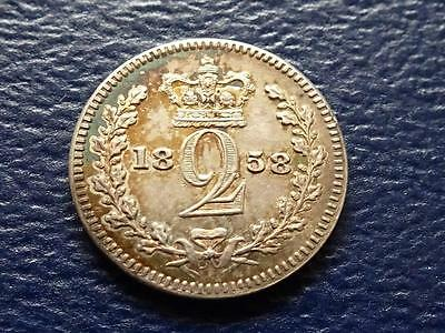 Queen Victoria Silver Maundy Twopence 1858 2D Legend Error Great Britain Uk