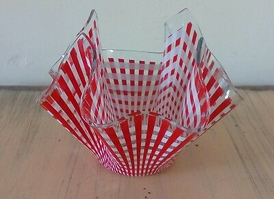 Vintage Chance Red & White Check Handkerchief Vase - Mid-century Glass 7.5 in