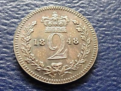 Queen Victoria Silver Maundy Twopence 1848 Great Britain Uk