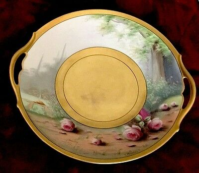 Antique Pickard 22k Gold Hand Painted Porcelain Signed Charger Plate