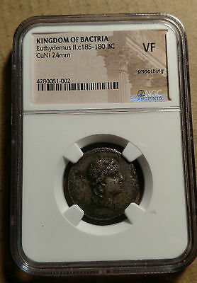 Bactria Euthydemus II Cupro-nickel Double Unit  c 185 BC NGC VF Apollo Fire Alte