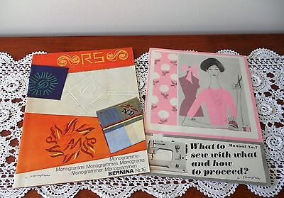 2 X C1970s VINTAGE BERNINA SEWING MANUALS - MONOGRAMS NO. 16 & MANUAL NO. 7