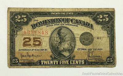1923 Dominion of Canada 25c Twenty Five Cent Note Circulated