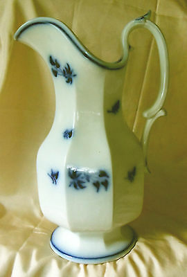 English Flow Blue Pottery Eight Paneled Pitcher Floral Decoration J. Furnival