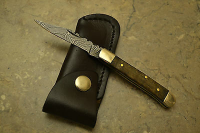 Hand Made Damascus Steel Mini Trapper Style Knife Walnut Wood Handle MPW