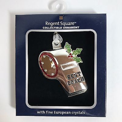Christmas Ornament Best Coach Whistle by Regent Square European Crystals Sport