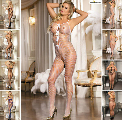 Catsuit Dessous Netz Body Teddy Fishnet Reizwäsche Body Stocking | Xs-L |H31051