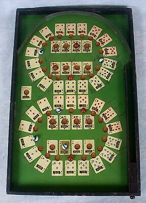 Antique Lindstrom Poker Cards Pinball Ball Pin Tabletop Marble Bagatelle Game