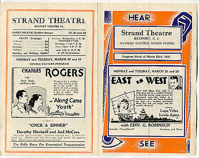 March 23rd 1931 Strand Theatre Movie hand bill, Gary Cooper in Fighting Caravans