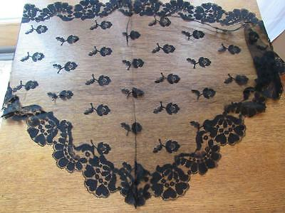 Antique Vintage Black Chantilly Lace Head Scarf Cover Mourning Veil
